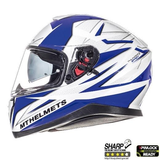 Casca integrala motociclete MT Thunder III SV Effect alb/albastru lucios (ochelari soare integrati) [0]