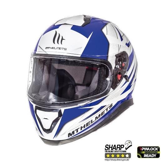Casca integrala motociclete MT Thunder III SV Effect alb/albastru lucios (ochelari soare integrati) [1]