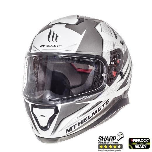 Casca integrala motociclete MT Thunder III SV Effect alb/argintiu antracit lucios (ochelari soare integrati) [1]