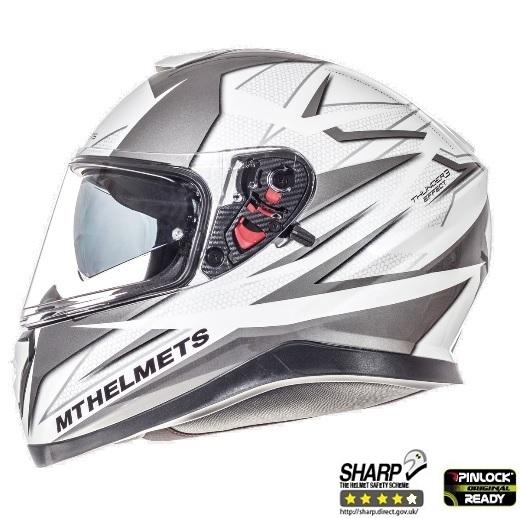 Casca integrala motociclete MT Thunder III SV Effect alb/argintiu antracit lucios (ochelari soare integrati) [0]