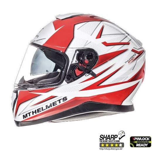 Casca integrala motociclete MT Thunder III SV Effect alb/rosu lucios (ochelari soare integrati) [0]