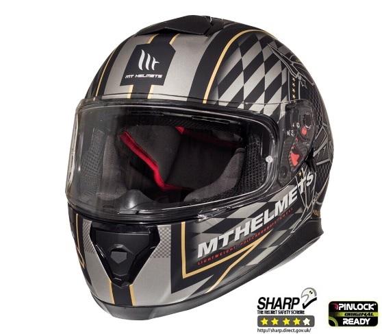 Casca integrala motociclete MT Thunder III SV Isle of Man negru/auriu mat (ochelari soare integrati) [1]