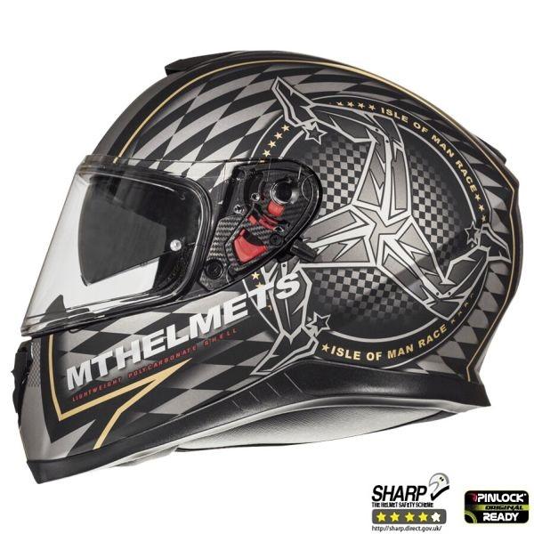 Casca integrala motociclete MT Thunder III SV Isle of Man negru/auriu mat (ochelari soare integrati) [0]
