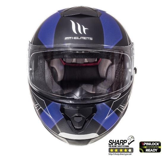Casca integrala motociclete MT Thunder III SV Trace negru/albastru mat (ochelari soare integrati) [2]