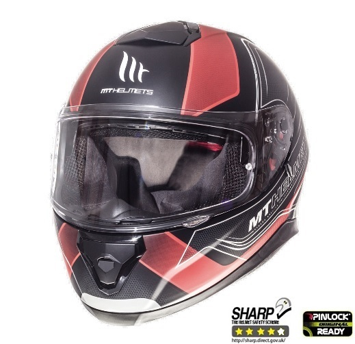 Casca integrala motociclete MT Thunder III SV Trace negru/rosu mat (ochelari soare integrati) [1]
