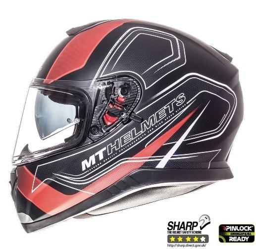 Casca integrala motociclete MT Thunder III SV Trace negru/rosu mat (ochelari soare integrati) [0]