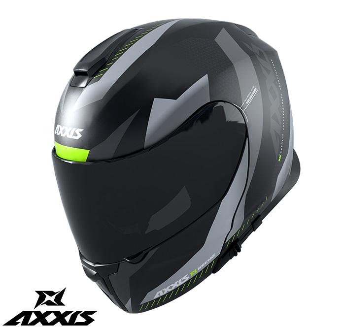 Casca modulabila Axxis model Gecko SV Shield B2 gri lucios (ochelari soare integrati) [0]