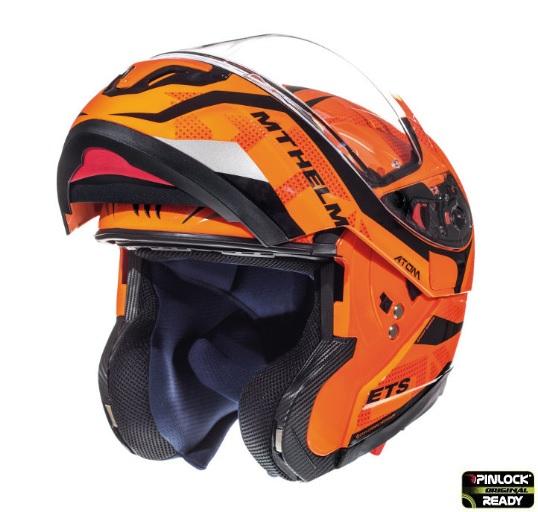 Casca modulabila motociclete MT Atom SV Divergence G1 portocaliu fluor lucios Pinlock ready (viziera tip MT-V-16) [1]