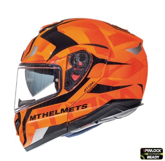 Casca modulabila motociclete MT Atom SV Divergence G1 portocaliu fluor lucios Pinlock ready (viziera tip MT-V-16) [0]