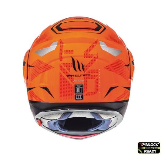 Casca modulabila motociclete MT Atom SV Divergence G1 portocaliu fluor lucios Pinlock ready (viziera tip MT-V-16) [3]