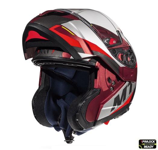 Casca modulabila motociclete MT Atom SV Transcend F5 rosu/gri lucios Pinlock ready [1]