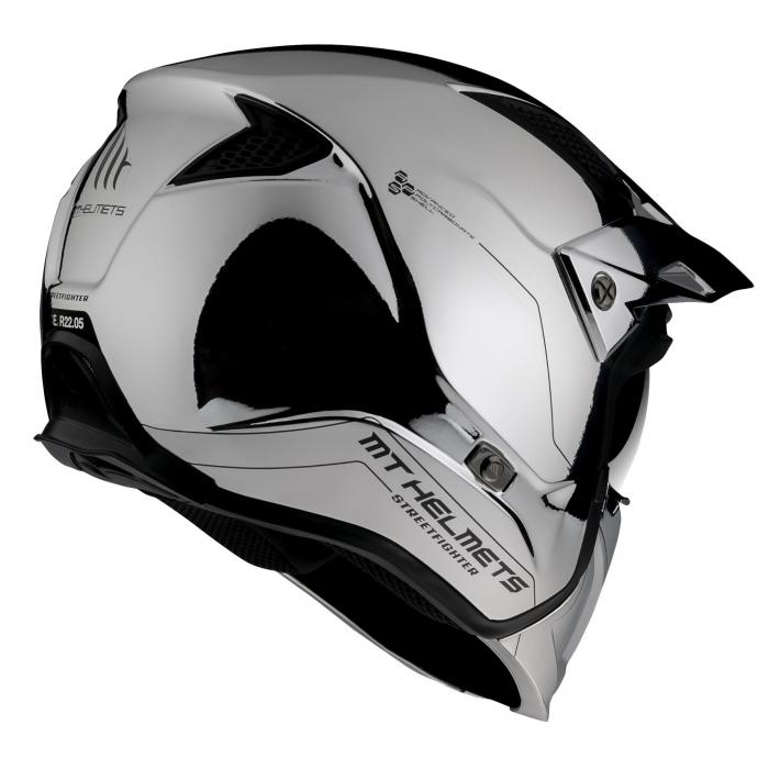 Casca MT Streetfighter SV A2 argintiu cromat lucios (ochelari soare integrati) – masca (protectie) barbie si cozoroc detasabile – editie speciala [2]