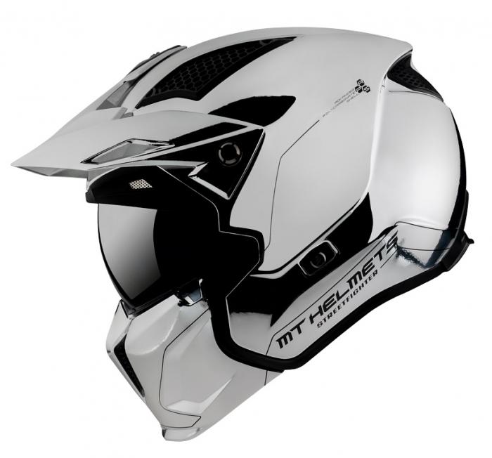 Casca MT Streetfighter SV A2 argintiu cromat lucios (ochelari soare integrati) – masca (protectie) barbie si cozoroc detasabile – editie speciala [0]