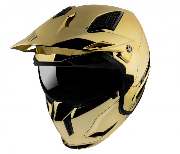 Casca MT Streetfighter SV A9 auriu cromat lucios (ochelari soare integrati) – masca (protectie) barbie si cozoroc detasabile – editie speciala [1]