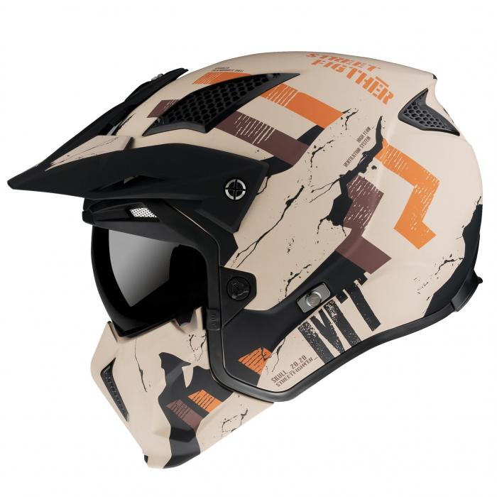 Casca MT Streetfighter SV Skull2020 A14 portocaliu mat (ochelari soare integrati) – masca (protectie) barbie si cozoroc detasabile [0]