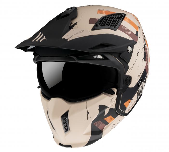 Casca MT Streetfighter SV Skull2020 A14 portocaliu mat (ochelari soare integrati) – masca (protectie) barbie si cozoroc detasabile [1]
