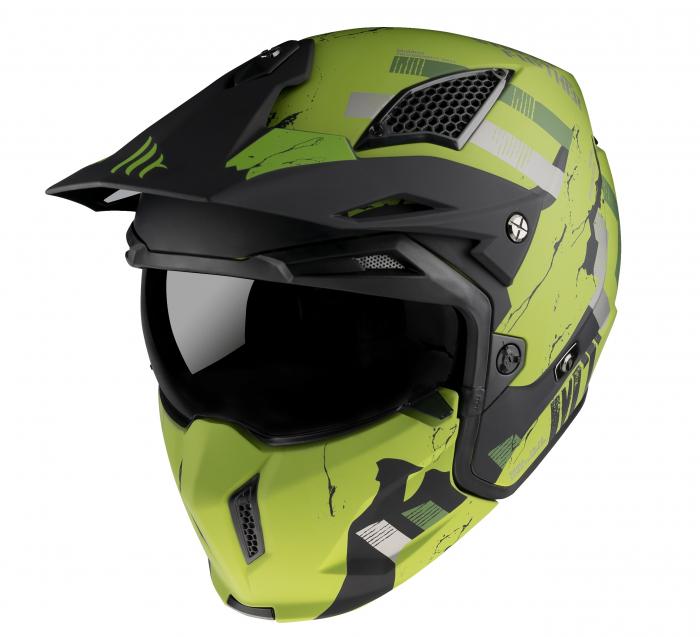 Casca MT Streetfighter SV Skull2020 A16 verde mat (ochelari soare integrati) – masca (protectie) barbie si cozoroc detasabile [1]