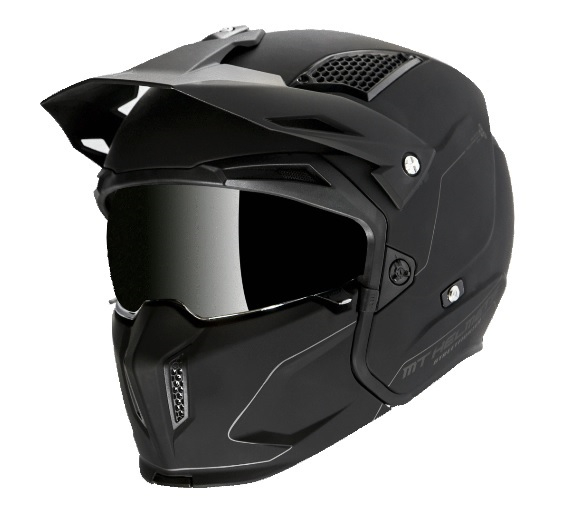Casca MT Streetfighter SV solid A1 negru mat (ochelari soare integrati) – masca (protectie) barbie si cozoroc detasabile [1]