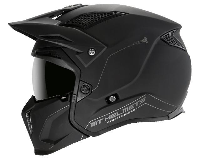Casca MT Streetfighter SV solid A1 negru mat (ochelari soare integrati) – masca (protectie) barbie si cozoroc detasabile [0]