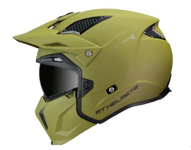 Casca MT Streetfighter SV solid A6 verde mat (ochelari soare integrati) – masca (protectie) barbie si cozoroc detasabile [0]