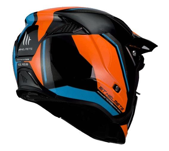 Casca MT Streetfighter SV Twin A4 negru/albastru/portocaliu fluor lucios (ochelari soare integrati) – masca (protectie) barbie si cozoroc detasabile [2]