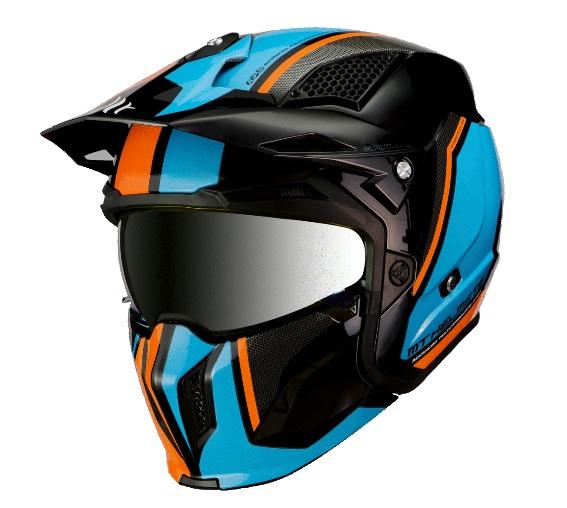 Casca MT Streetfighter SV Twin A4 negru/albastru/portocaliu fluor lucios (ochelari soare integrati) – masca (protectie) barbie si cozoroc detasabile [1]
