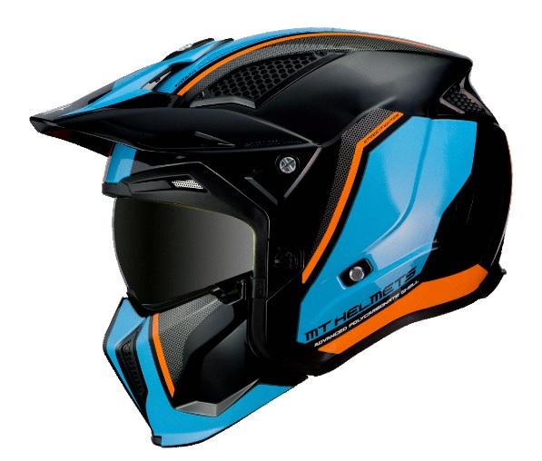 Casca MT Streetfighter SV Twin A4 negru/albastru/portocaliu fluor lucios (ochelari soare integrati) – masca (protectie) barbie si cozoroc detasabile [0]