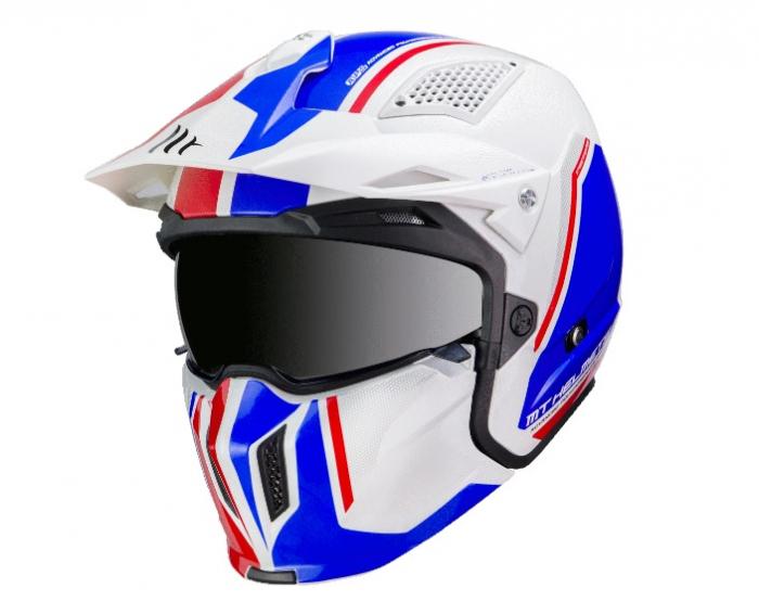 Casca MT Streetfighter SV Twin B7 alb/albastru lucios (ochelari soare integrati) – masca (protectie) barbie si cozoroc detasabile [1]