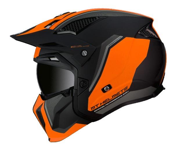 Casca MT Streetfighter SV Twin C4 portocaliu fluor mat (ochelari soare integrati) – masca (protectie) barbie si cozoroc detasabile [0]