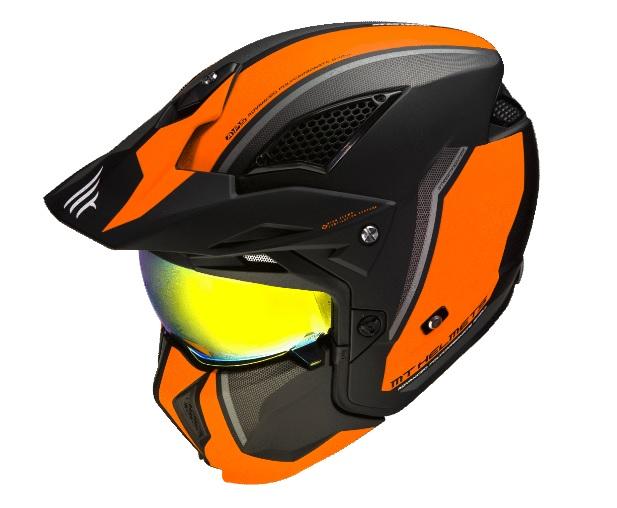 Casca MT Streetfighter SV Twin C4 portocaliu fluor mat (ochelari soare integrati) – masca (protectie) barbie si cozoroc detasabile [4]