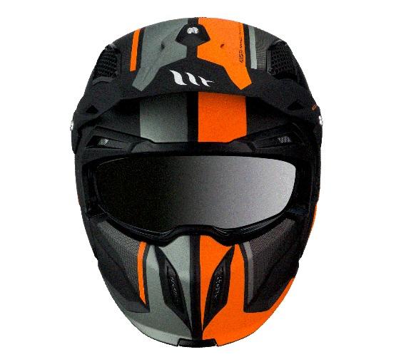 Casca MT Streetfighter SV Twin C4 portocaliu fluor mat (ochelari soare integrati) – masca (protectie) barbie si cozoroc detasabile [2]