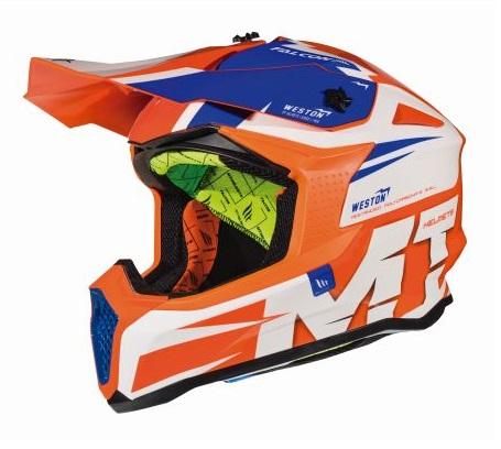 Casca off road motociclete MT Falcon Weston A1 portocaliu fluor lucios [1]