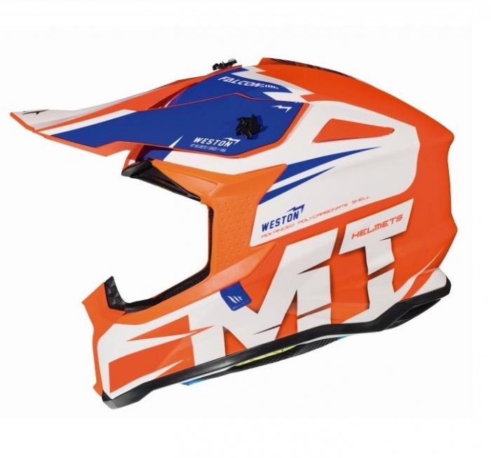 Casca off road motociclete MT Falcon Weston A1 portocaliu fluor lucios [0]