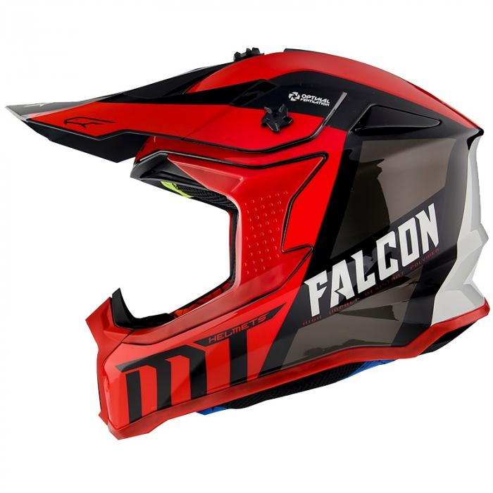 Casca off road MT Falcon Warrior C5 rosu lucios [0]