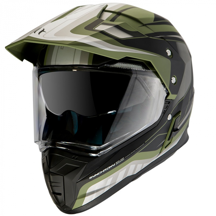 Casca off road MT Synchrony Duo Sport Tourer negru/verde military mat cu viziera (ochelari soare integrati) [0]