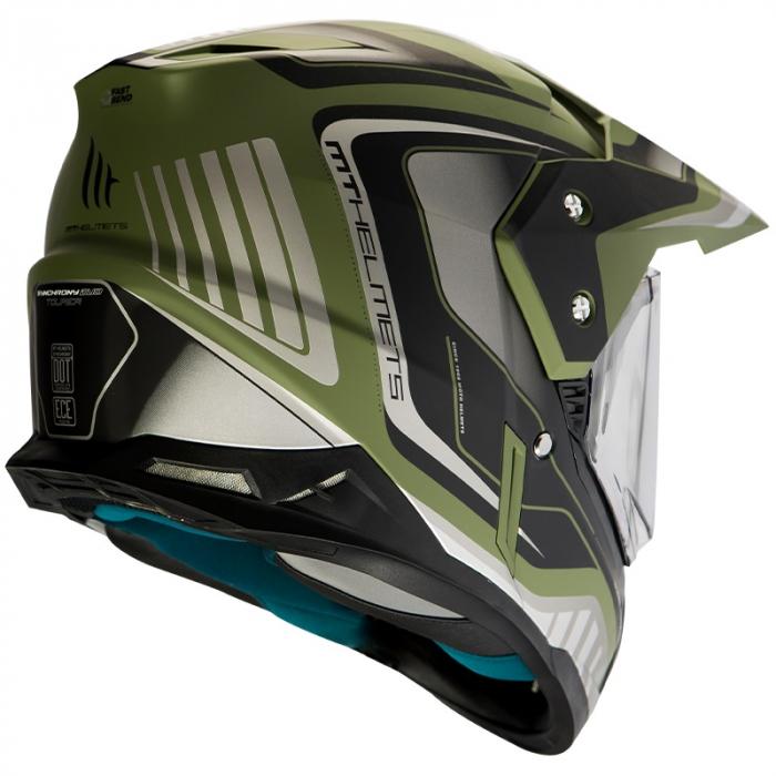 Casca off road MT Synchrony Duo Sport Tourer negru/verde military mat cu viziera (ochelari soare integrati) [1]