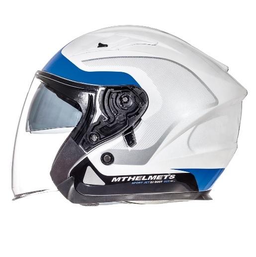 Casca open face motociclete MT Avenue SV Crossroad alb/albastru lucios (ochelari soare integrati) [0]