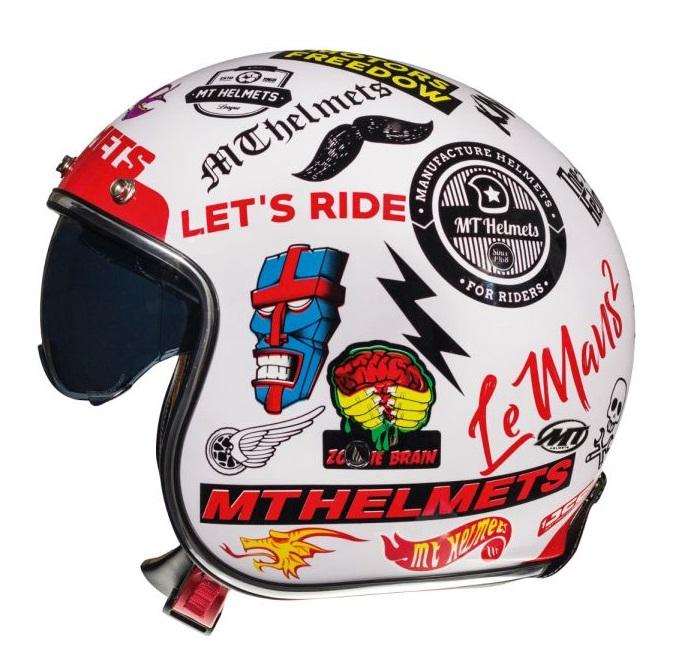 Casca open face motociclete MT Le Mans 2 SV Anarchy A0 alb lucios (ochelari soare integrati) [0]