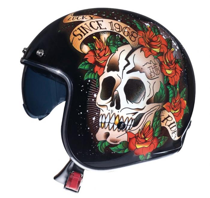 Casca open face motociclete MT Le Mans 2 SV Skull & Rose A1 negru/rosu lucios (ochelari soare integrati) [0]