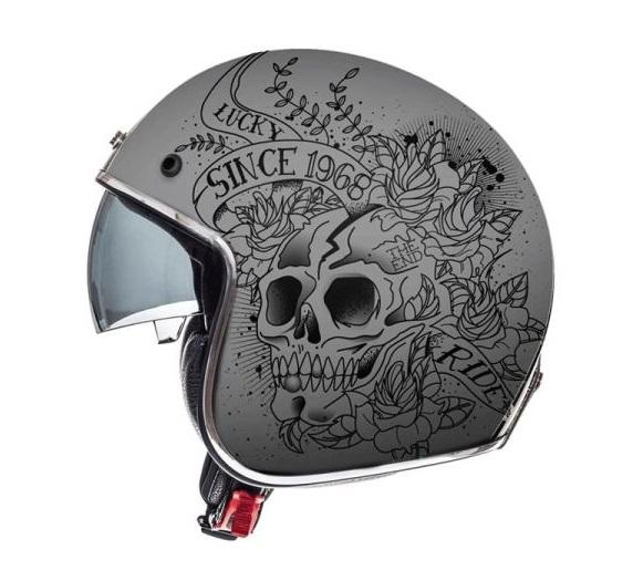Casca open face motociclete MT Le Mans 2 SV Skull & Rose A2 negru/gri mat (ochelari soare integrati) [0]