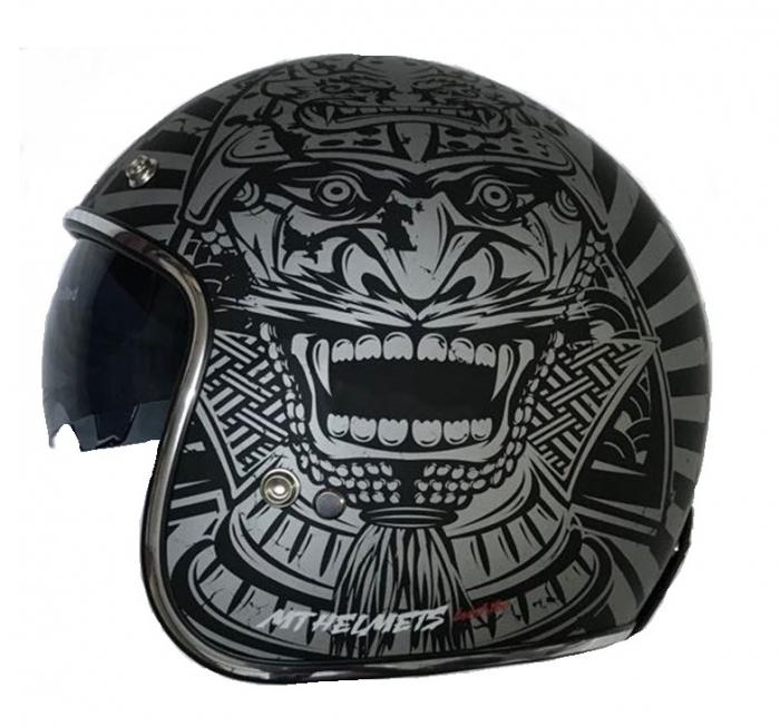 Casca open face motociclete MT Le Mans SV Bushido negru/gri mat (ochelari soare integrati) [0]