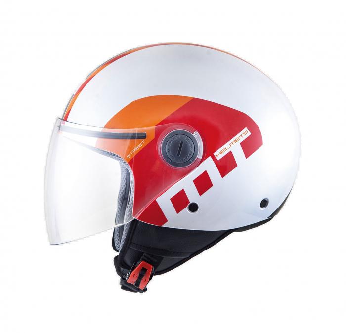 Casca open face motociclete MT Street Metro alb/rosu/portocaliu lucios [0]