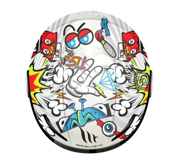 Casca open face motociclete MT Urban Kids Street art alb/galben fluor/rosu lucios – de copii [1]