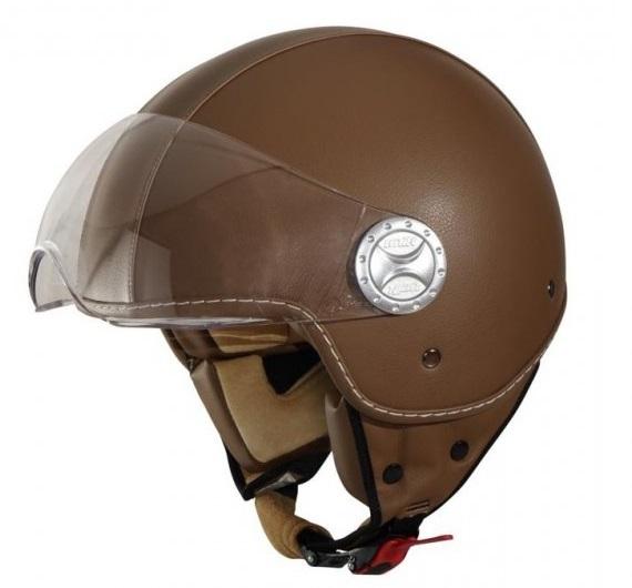 Casca open face motociclete Unik Racing model CJ-06 piele ecologica maro [1]