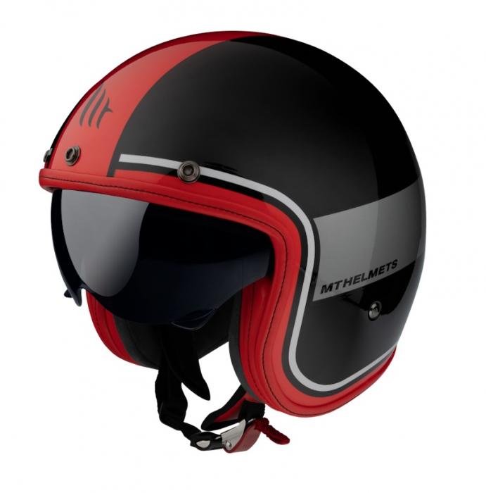 Casca open face MT Le Mans 2 SV Tant A5 negru/rosu lucios (ochelari soare integrati) [1]
