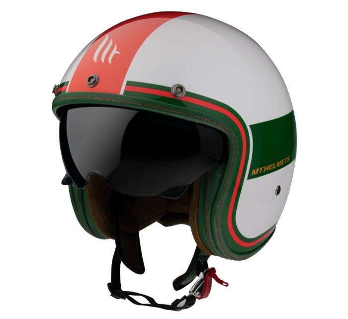 Casca open face MT Le Mans 2 SV Tant D5 alb/rosu/verde lucios (ochelari soare integrati) [1]