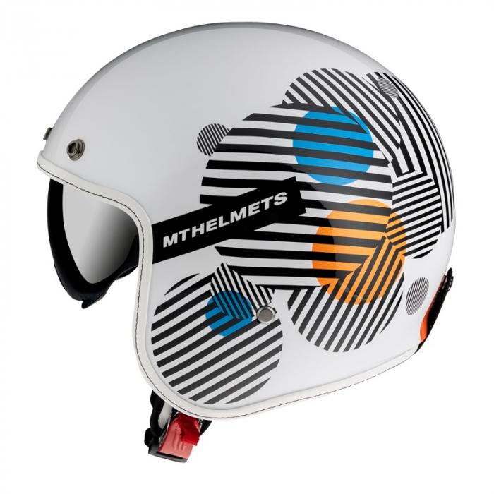 Casca open face MT Le Mans 2 SV Zero A4 alb/portocaliu lucios (ochelari soare integrati) [0]
