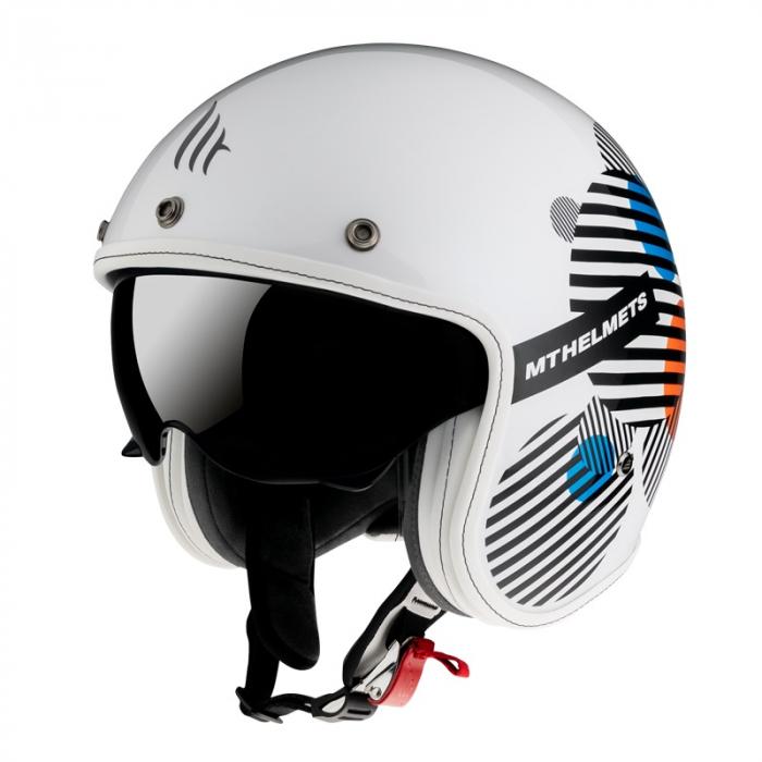 Casca open face MT Le Mans 2 SV Zero A4 alb/portocaliu lucios (ochelari soare integrati) [1]