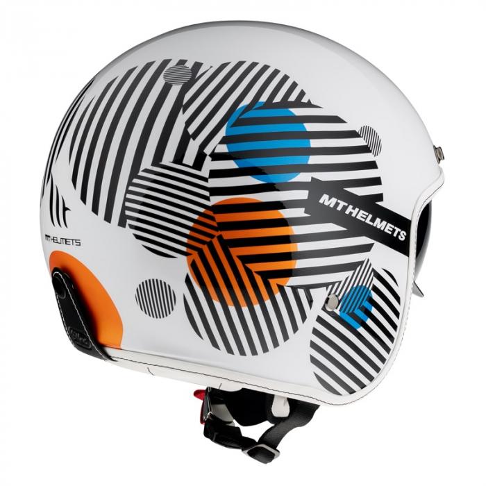 Casca open face MT Le Mans 2 SV Zero A4 alb/portocaliu lucios (ochelari soare integrati) [2]