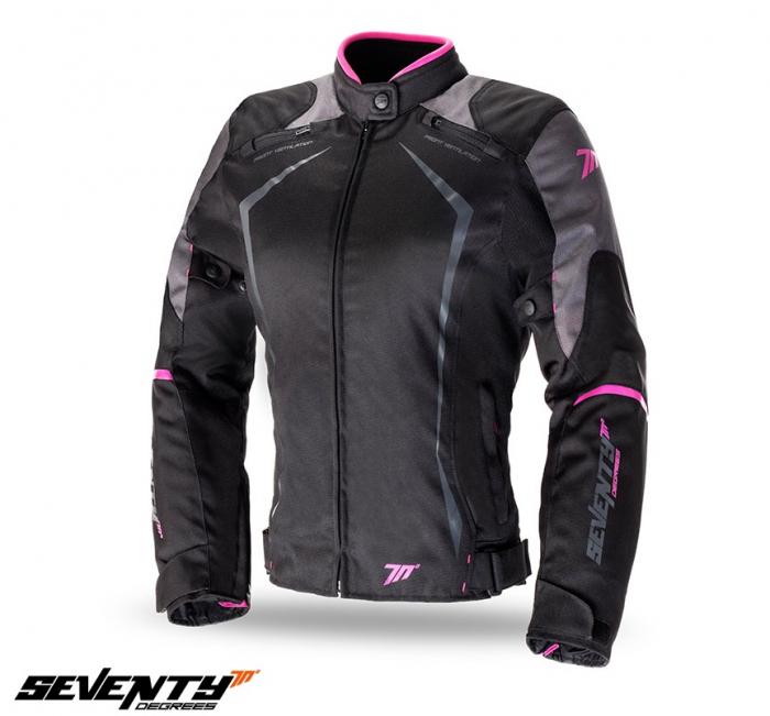 Geaca (jacheta) motociclete femei Racing Seventy vara/iarna model SD-JR49 culoare: negru/roz [0]